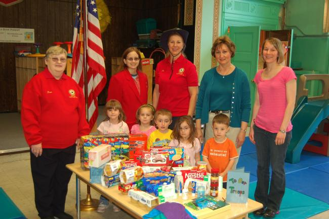 Child Development, Inc.'s Tamaqua Center collected items to be sent overseas to U.S. troops. Participating in the presentation of the items were, in front from left, Kelly Lorah, Emma Shobe, Toby Schlosser, Katrina Roub and Jesse Connell. Standing…