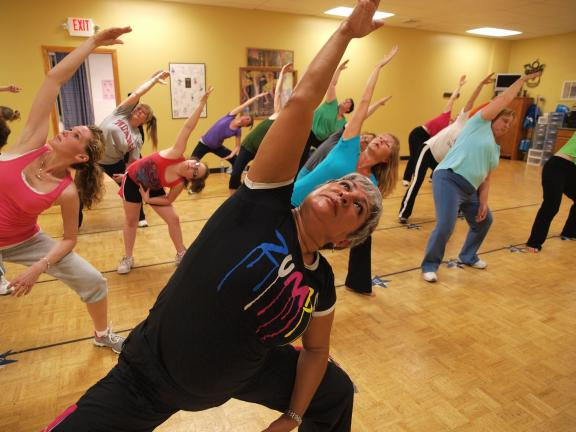 Naomi Betancourt (in black) leads Zumba class in the Reggaeton, a Reggae/Hip Hop hybrid dance step at the Dance With Kim studio in Lehighton.