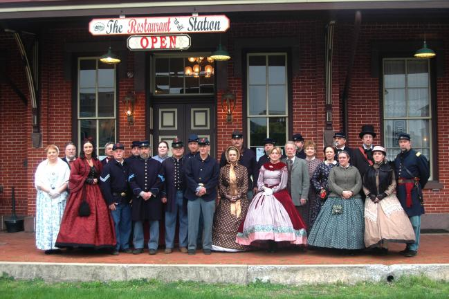 Shown are some of close to 40 members of the 81st Pa. Volunteer Infantry Regiment who gathered at the Tamaqua train station on Saturday for their annual banquet. The event was hosted by Bill and Sheri Beltz of the Restaurant at the Station.