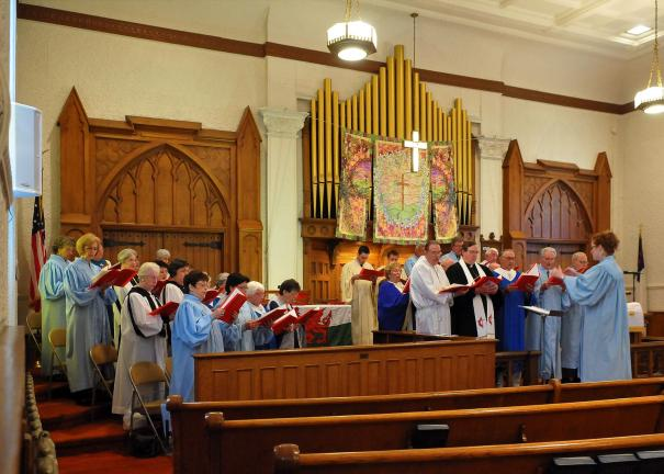 STEVE SHINKO/SPECIAL TO THE TIMES NEWS Choir members from 16 Tamaqua and Panther Valley area churches come together at the First United Methodist Church in Tamaqua to sing at the Tamaqua-Panther Valley Welsh Songfest.