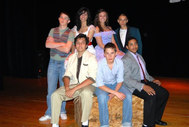 "Ron Gower/TIMES NEWS Having lead roles in the Jim Thorpe School District Drama Production ""West Side Story,"" to be presented at 7 p.m. Friday and Saturday in the high school auditorium, are, front l-r, Tomas Lafeta (Riff), Michael Trainer (Tony),…"