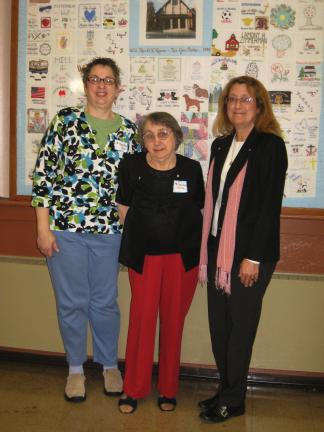 STACEY SOLT/SPECIAL TO THE TIMES NEWS Mindy Graver was the guest speaker at the Women of the ELCA spring meeting. With Graver are WELCA co-coordinators Mary Ann Hazel, left, and Josephine Rhyder, center.