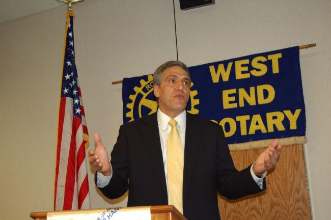 LINDA KOEHLER/TIMES NEWS Louis Barletta, mayor of Hazleton, addresses the West End Rotary Club and explains why he is running for Pennsylvania's 11th Congressional district.