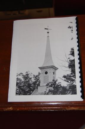 The steeple of Christ Hamilton United Lutheran Church in this picture taken from the 250th anniversary booklet is covered with wood shingles. The ball on top received a new coating of gilt as part of the most recent restoration.