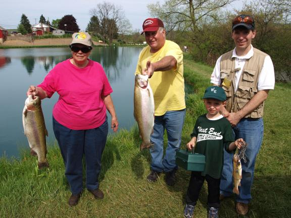ANDREW LEIBENGUTH/SPECIAL TO THE TIMES NEWS Hundreds of children and adults participated in the 30th Annual Sportsman's Rod and Gun Club Fishing Contest held recently at Lizard Creek in Andreas. Some fishing, from left, were Eleanor LaDue from…