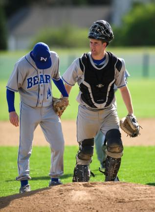bob ford/times news Pleasant Valley pitcher Russell Baldino and catcher Joe Wiesmatch talk on the mound during a recent baseball game. The Bears' baseball, softball and soccer teams are all enjoying outstanding success this spring.
