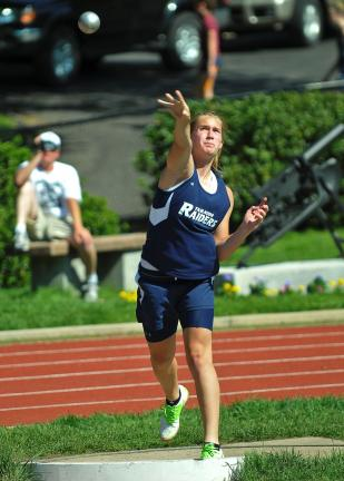 steve shinko/special to the times news Tamaqua Allison Updike follows through after releasing the shot put. Updike won the event with a toss of 33-9 in the Schuylkill League championship meet against Marian.
