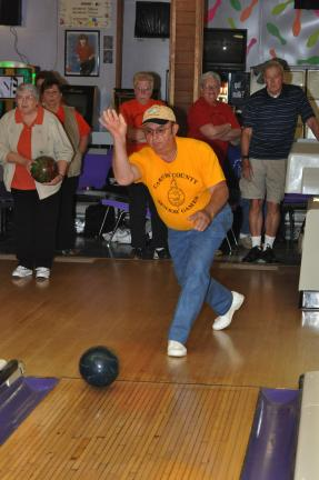 AMY ZUBEK/TIMES NEWS Panther Valley senior team member Nick Totani bowls his way into the winner's circle. Totani won a gold medal during Monday's bowling competition.