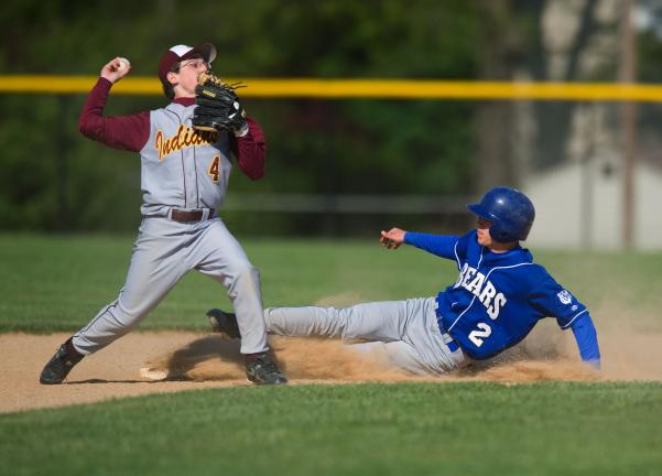 Bob ford/times news Lehighton's Matt Schaeffer makes the relay throw to first base after getting the force out of Pleasant Valley's Jake Chamberlain.