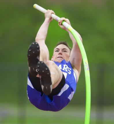 bob ford/times news Pleasant Valley's Ben Desotelle shows his form in the pole vault.