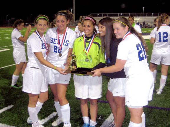 SHAWN MCFARLAND/TIMES NEWS Pleasant Valley seniors celebrate their Mountain Valley Conference soccer championship.