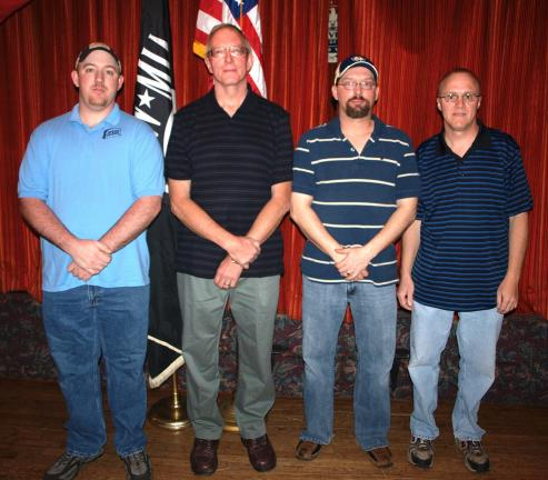 Andrew Leibenguth/special to the times news WALTERS MONUMENT CAPTURED THE TEAM CHAMPIONSHIP OF THE SPARE TIME BOWLING ALLEY'S NATIONAL LEAGUE THIS SEASON. TEAM MEMBERS ARE, FROM LEFT, JESSE NICHOLLS, CRAIG WALTERS, JUSTIN GIGLI, AND TIM KISTLER.