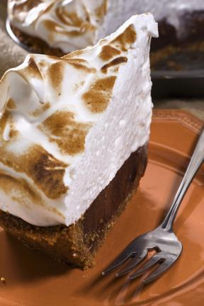 AP PHOTO The fresh marshmallow topping on S'mores Pie gets browned with a small kitchen torch or can be broiled in the oven.