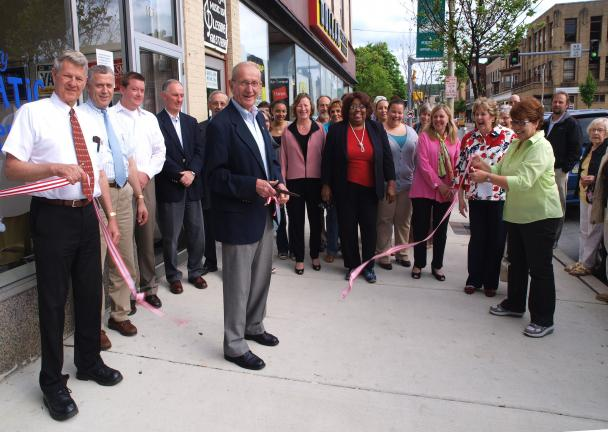 AL ZAGOFSKY/SPECIAL TO THE TIMES NEWS The cutting of the ribbon outside 101 North First Street in Lehighton opens the Carbon County Democratic Election Center. Frank Jacobs (center) - chair of the Carbon County Democratic Party holds scissors that…