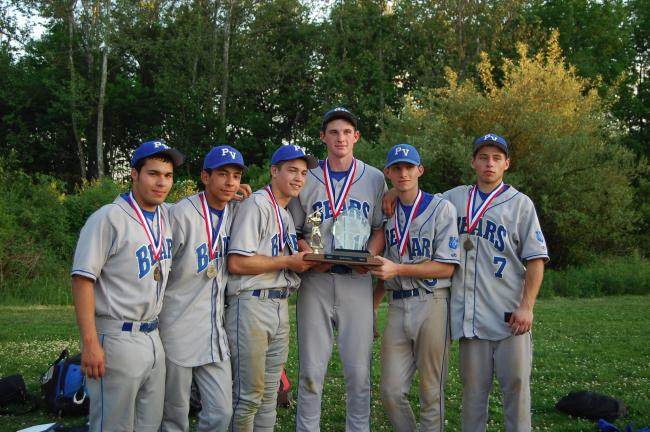 special to the times news Pleasant Valley seniors celebrate their Mountain Valley Conference baseball championship.The players are, from left, Alex Jimenez, Cody Cardenas, Jake Chamberlain, Pat Kregeloh, Chris D'Arcy and Tim Shea.