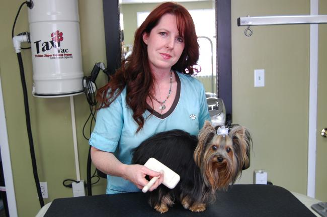 Elizabeth Lisella, pictured here with her Yorkshire Terrier Clairabell, recently opened the K-9 Bath and Body dog spa in Nesquehoning.