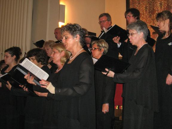 STACEY SOLT/SPECIAL TO THE TIMES NEWS Members of the Bach and Handel Chorale perform during a benefit concert for Shepherd House Food Pantry.
