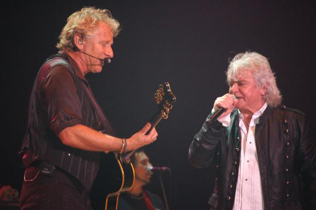 JOE PLASKO/TIMES NEWS Graham Russell (left) and Russell Hitchcock of Air Supply harmonize during their Penn's Peak concert Friday night.