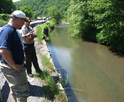 Andrew Leibenguth/Times news Officials from the DEP and the Pennsylvania Fish and Boat Commission are working together with the Tamaqua Borough and Tamaqua Water Department to determine what caused over 1,000 fish to die earlier this week on the…