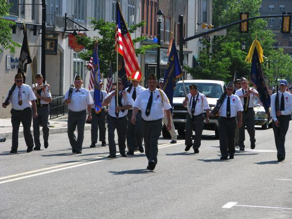 LIZ PINKEY/SPECIAL TO THE TIMES NEWS The color guard from the Tamaqua American Legion Post #173 led the parade up Broad Street to the 142nd Memoral Day Service at Odd Fellows Cemetery, immediately following the parade.