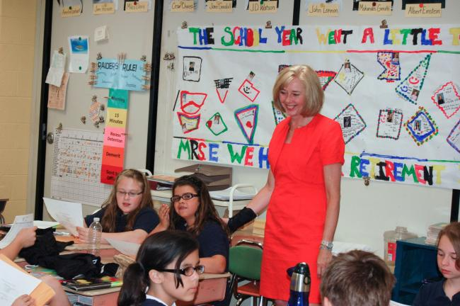 JOE PLASKO/TIMES NEWS Rochelle Evanousky, fifth-grade teacher at Rush Elementary School, interacts with students on the last day of school. Evanousky, who is retiring this year, has taught at the school for 31 years.