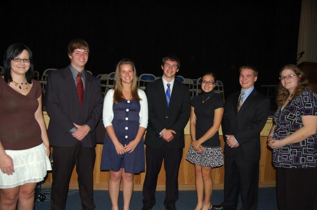 "TERRY AHNER/TIMES NEWS Palmerton Area High School students recognized prominently during the recent Senior Awards Assembly include (l-r) Danielle Norris, Jesse Reis, Madeline Koller, Ryan Kleintop, Catherine Gamez, Frank ""Jay"" Hall, and Courtney Gruber."