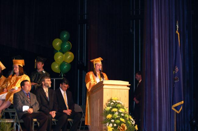 Connie Palmer, Salutatorian of Carbon Career and Technical Institute's Class of 2010, speaks at graduation ceremonies Wednesday.