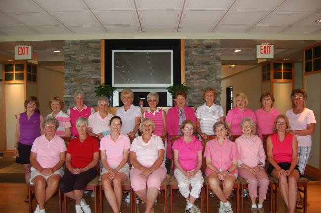 LINDA KOEHLER/TIMES NEWS Here are the four teams that tied for first place in the 18-Hole 10th Annual Pink Ribbon Tournament and the winning team for the 9-Hole tournment sponsored by the Blue Ridge Country Club Ladies League. They are: Front row,…