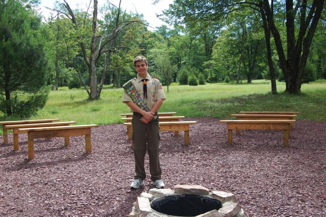 Nathaniel Flick spent the last month building an amphitheater in Hickory Run State Park's organized group tenting area. The construction was completed as part of Flick's Eagle Scout project.