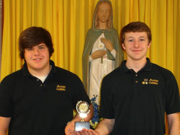 SPECIAL TO THE TIMES NEWS Marian Catholic High School students Dylan Rush (left) and Michael Mulligan were winners of Sovereign Majestic Awards.
