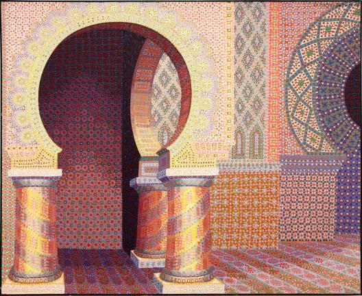 AL ZAGOFSKY/SPECIAL TO THE TIMES NEWS Liz Whitney Quisgard's works have a feeling of the Middle East with elements reminiscent of Islamic, Byzantine or Moorish architecture. Her dot patterns help to reinforce the image of mysterious multicolored…