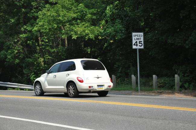 AMY ZUBEK/TIMES NEWS A vehicle entering Lentz Trail from Route 209 in Summit Hill passes the new 45 mph signs that were posted earlier this week. PennDOT officially reduced the speed along Lentz Trail from 55 mph to 45 mph after completing a traffic…