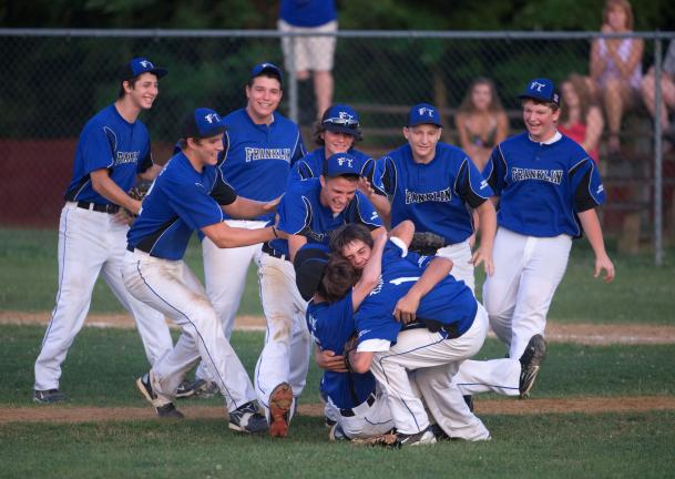 BOB FORD/TIMES NEWS Franklin Township's 15-year old Babe Ruth All-Star team celebrates its championship.