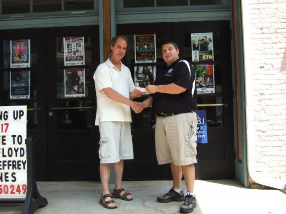 KATIE WARGO/SPECIAL TO THE TIMES NEWS Mauch Chunk Historical Society President Dan Hugos (left) was on hand to accept a $2,000 donation from the members of the Blue Mountain Paranormal Society represented by founder Bob Schaeffer (right). The ghost…
