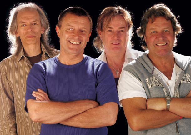 Asia, featuring original members (from left) Steve Howe, Carl Palmer, Geoffrey Downes and John Wetton, will perform at Penn's Peak in Jim Thorpe Thursday evening.