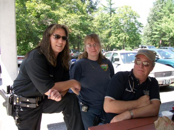 CHERYL KABANA/SPECIAL TO THE TIMES NEWS Officer Missy Johnson, Penn Mahoning Ambulance members Valerie Coombe and Donnie Hoppes at West Penn Senior Fun Day.