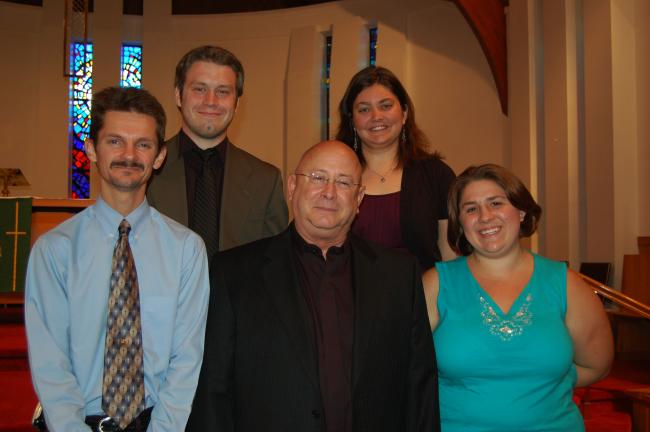 Gail Maholick/TIMES NEWS Seminarians who were presented a George Acker or the Rev. Raymond A. Minnich scholarship at Trinity Lutheran Church, Lehighton, were, from left, front row, Chris Druckenmiller, Tom Scornavacchi, and Jennifer Soltis; and back…