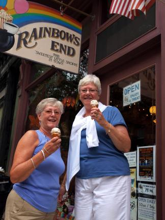 "AL ZAGOFSKY/SPECIAL TO THE TIMES NEWS At Rainbows End in Jim Thorpe, Jayne Krusman of Lopatcong, N.J. and Vicki Dunlap of Stewartsville, N.J. enjoy ice cream, ""The staple of my diet,"" they agreed. Several factors, including the hot weather, are…"