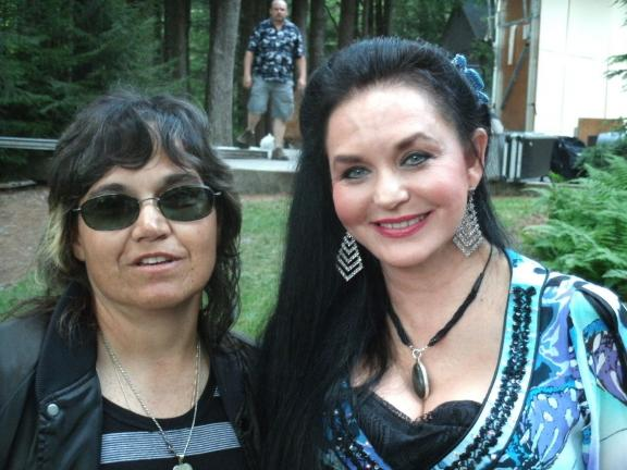 ELSA KERSCHNER/TIMES NEWS Bernadine Daddario of Towamensing Township had her picture taken with Crystal Gayle following a concert at the Dorflinger-Suydam Wildlife Sanctuary in White Mills, Pa. Gayle took time to sign autographs and meet with all…