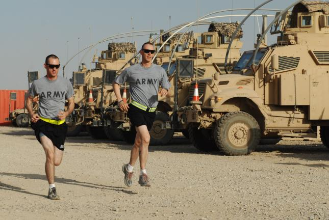 SPECIAL TO THE TIMES NEWS Army Staff Sgt. William Wary, right, is training to run in the Steamtown Marathon, Oct. 10. He is hoping to raise $1,000 to donate to Operation: Touch of Home as a way to pay forward for the many care packages he received…