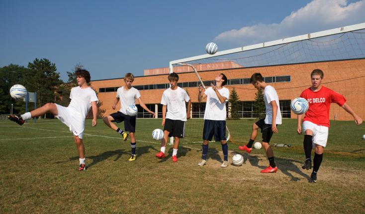 bob ford/times news Northern Lehigh soccer players warm up with some juggling drills before the start of practice. Among the key returnees for the Bulldogs this season are, from left, Jimmy Bilger, Casey McCarroll, Tyler Hoppes, Scott Bechtel,…