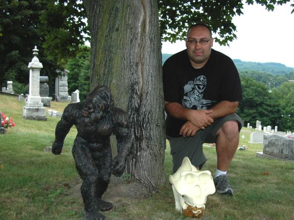 DONALD R. SERFASS/TIMES NEWS Paranormal researcher Tim Heckman of Tamaqua discusses oddities such as Bigfoot and Giganopithicus. Heckman travels extensively in search of answers to many of today's mysteries.