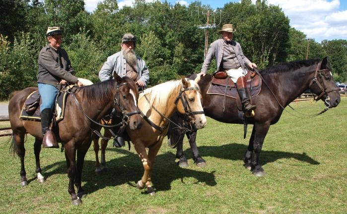 ANDREW LEIBENGUTH/SPECIAL TO THE TIMES NEWS Representing the Southern Confederate Calvary during the No. 9 Mine and Museum's annual Old Fashioned Picnic on their horses, from left, are Beth Jones from Christiana, Carl Popadick from Atglen, and John…