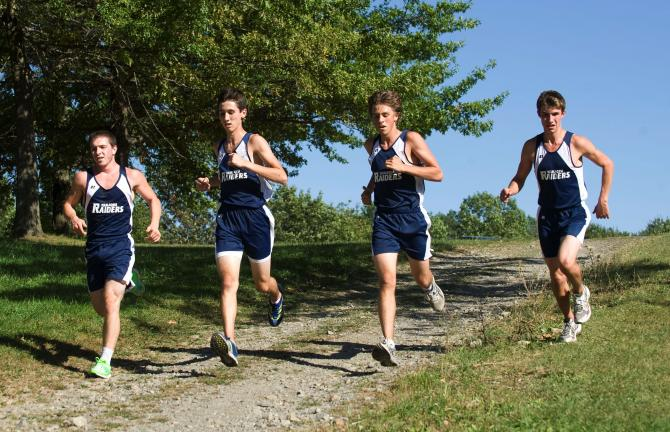 Joe Plasko/times news Tamaqua runners (from left) Philip Christman, Zac Oliveria, Joe Rudy and Jordan Frank come down a hill during their Schuylkill League meet at Panther Valley. BOB FORD/TIMES NEWS