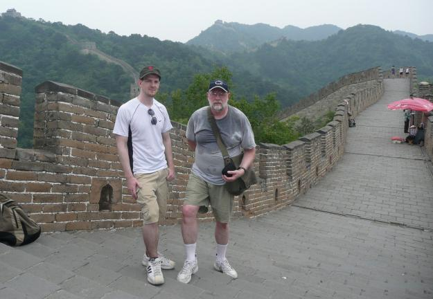Father and son on the Great Wall. As we walked along, my dad's expressions changed from one of amazement to one of somewhat grief. A ring of sweat had grown around his neck and down both sides of his T-shirt as we walked up and down the wall as it…