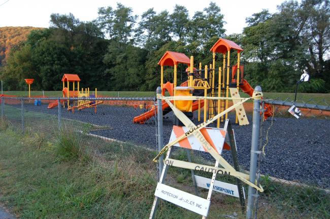 Gail Maholick/TIMES NEWS Tape which barricades the Weissport Playground from use will soon be coming down. Weissport Council has written confirmation that the issue is getting resolved.