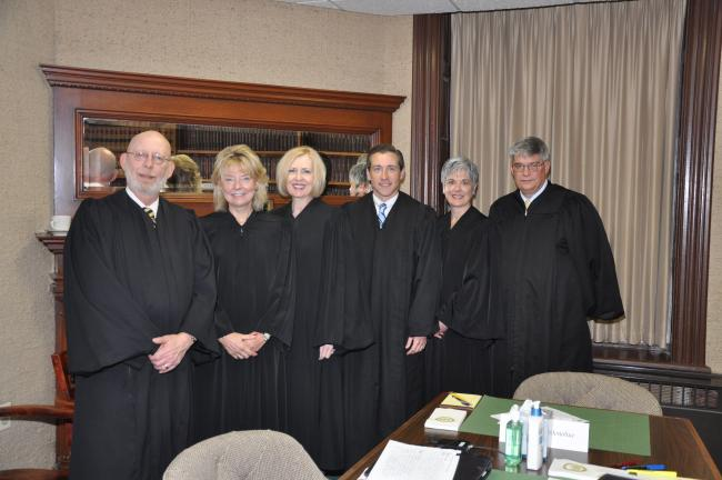 AMY MILLER/TIMES NEWS Judges of the Pennsylvania Superior Court meet with the judges of the Carbon County Court of Common Pleas prior to the start of a two-day special Superior Court session in Jim Thorpe. Judges from left are, Carbon County Senior…