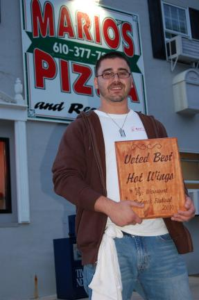 Gail Maholick/TIMES NEWS Vinny Vitale of Mario's Pizza was selected by Weissport Redneck Festival as having the best wings in Carbon County.