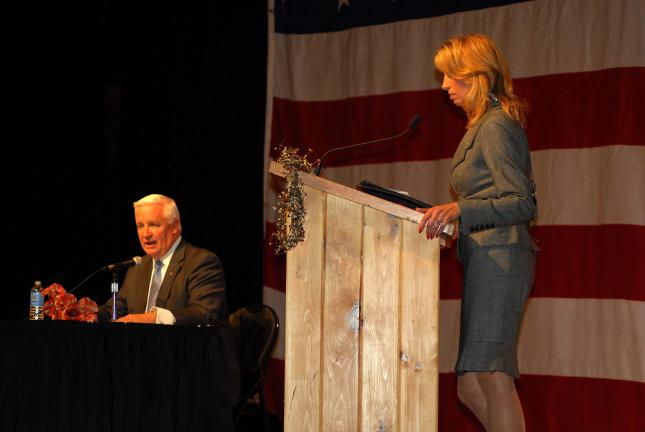 Ron Gower/TIMES NEWS Moderator Kim Bell of Blue Ridge Communications TV-13 introduces Republican gubernatorial candidate Tom Corbett during Candidates' Night last night at Penn's Peak in Jim Thorpe.