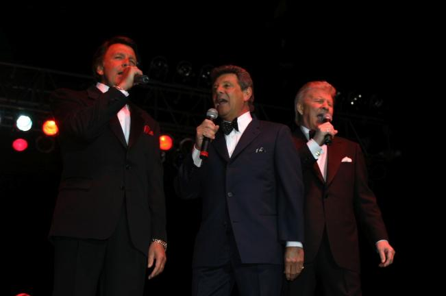 "Appearing at Penn's Peak on Friday, in a concert beginning at 8 p.m., are, l-r, Frankie Avalon, Fabian, and Bobby Rydell, in ""Dick Fox's Golden Boys."" Tickets will be available at the door."